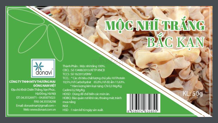 Thiết kế nhãn mác sản phẩm Mộ Nhĩ Trắng Bắc Kanj