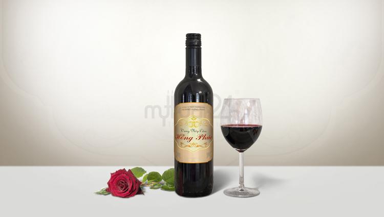 Thiết kế bao bì rượu vang nếp cẩm hồng phúc
