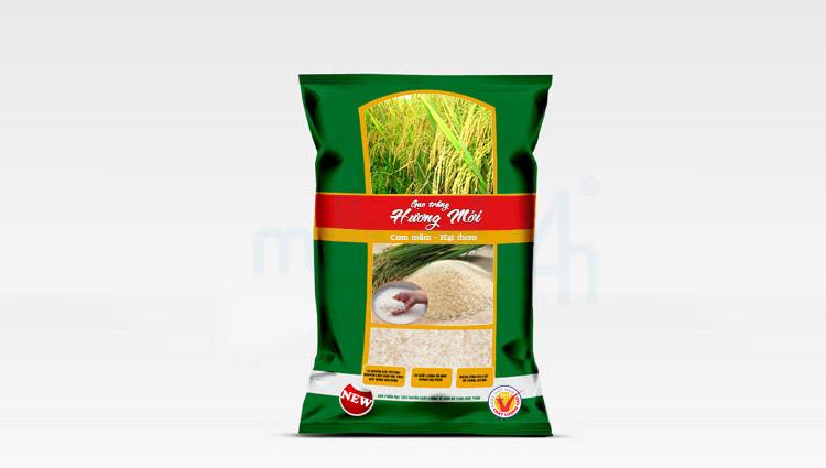Thiết kế bao bì gạo Hương Mới